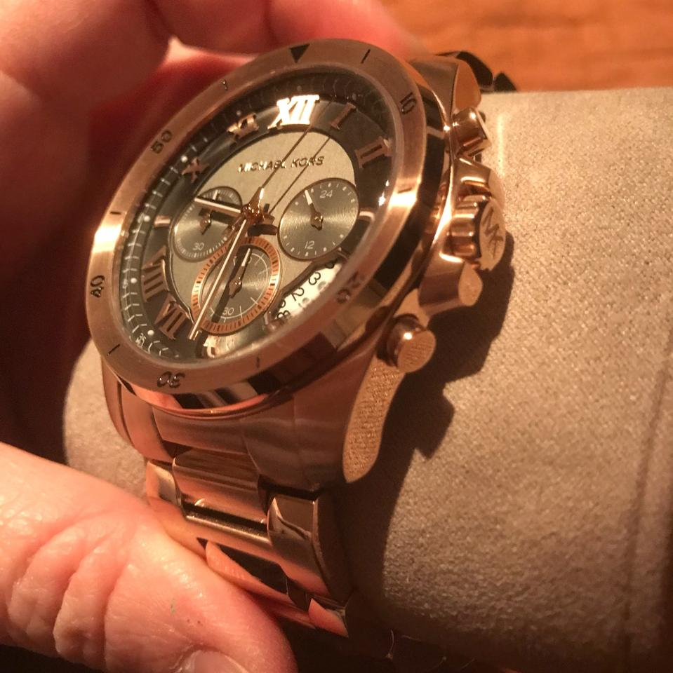 0336296c6804 ... Michael Kors Brecken Rose Gold Tone Black Dial MK8563 Chronograph Mens  Watch Image. 123456
