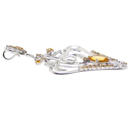 NY Collection Womens Citrine Filigree Drop Pendant Matte Sterling Silver 5.90 ct