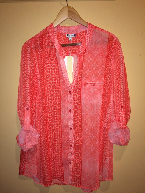 KUT from the Kloth Sleeve Sheer Print Top Coral