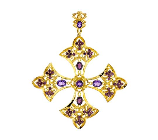 Preload https://img-static.tradesy.com/item/22555785/ny-collection-yellow-amethyst-garnet-fleur-de-lis-cross-925-silver-880-ct-necklace-0-0-540-540.jpg