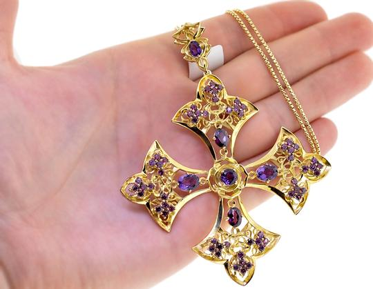 NY Collection Amethyst Garnet Fleur De Lis Cross Necklace Yellow 925 Silver 8.80 ct