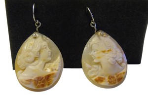 AMEDEO AMEDEO Scognamiglio 35mm .925 Sterling Silver Cornelian Lady Cameo Earrings