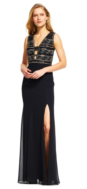 Preload https://img-static.tradesy.com/item/22555898/adrianna-papell-black-beaded-with-v-neck-cutout-long-night-out-dress-size-6-s-0-0-650-650.jpg