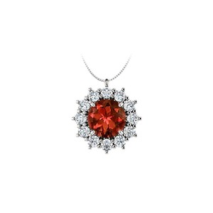Marco B Round Garnet and CZ Halo Pendant in 925 Sterling Silver 1.25.ct.tgw