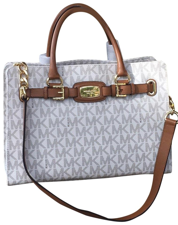f00ddac61b9be Michael Kors Mk Hamilton Monogram Luggage Leather Trim Crossbody Strap  Hamilton East West Satchel in Vanilla ...