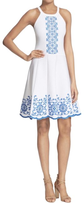 Preload https://img-static.tradesy.com/item/22556042/parker-white-and-blue-mid-length-cocktail-dress-size-2-xs-0-1-650-650.jpg