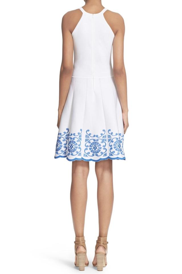 db93decc454 Parker White and Blue Mid-length Cocktail Dress Size 2 (XS) - Tradesy