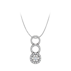 Marco B One Carat CZ Graduated Circle Pendant in 925 Silver
