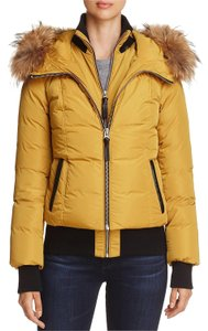 Mackage Fur Yellow Bomber Down Luxury gold Jacket