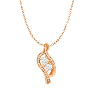 Marco B Two Stone CZ Accented Freeform Pendant 14K Rose Vermeil