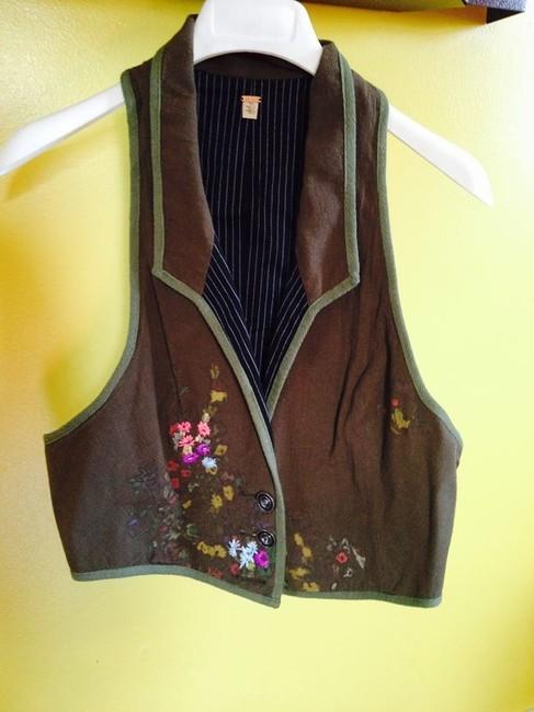 Free People Corduroy Trim Embroidery Button Down Shirt Brown with Green border