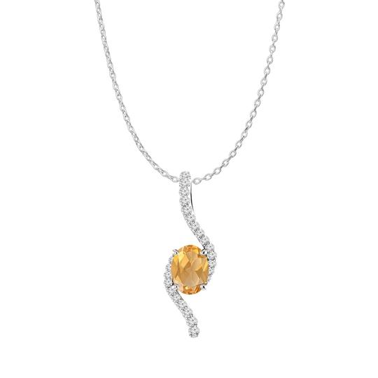 Preload https://img-static.tradesy.com/item/22556176/yellow-silver-oval-citrine-cz-accented-freeform-pendant-925-necklace-0-0-540-540.jpg