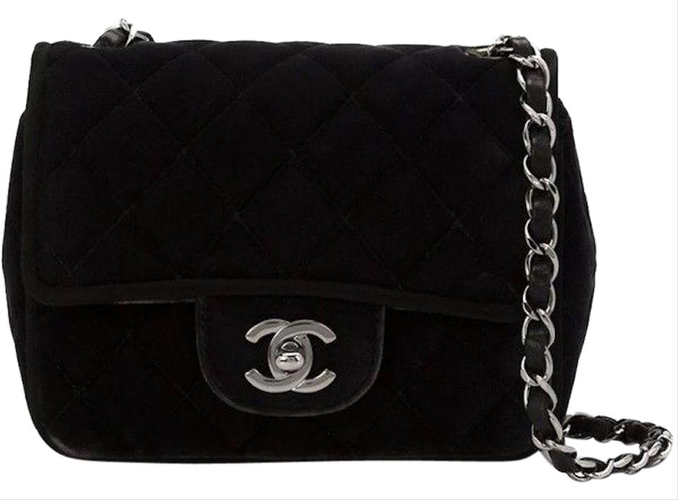 17fadae0f93ff0 Chanel 2.55 Reissue Classic Mini Flap Cc Logo Small Square Crossbody Quilted  Black Silver Velvet Shoulder Bag