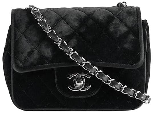 c86215b59fcb Chanel 2.55 Reissue Classic Mini Flap Cc Logo Small Square Crossbody  Quilted Black Silver Velvet .