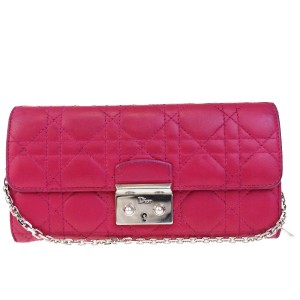 Dior Pink Leather Wallet on Chain