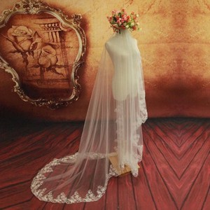 Off White Long ***new --1 Layer Cathedral Lace Veil*** Bridal Veil
