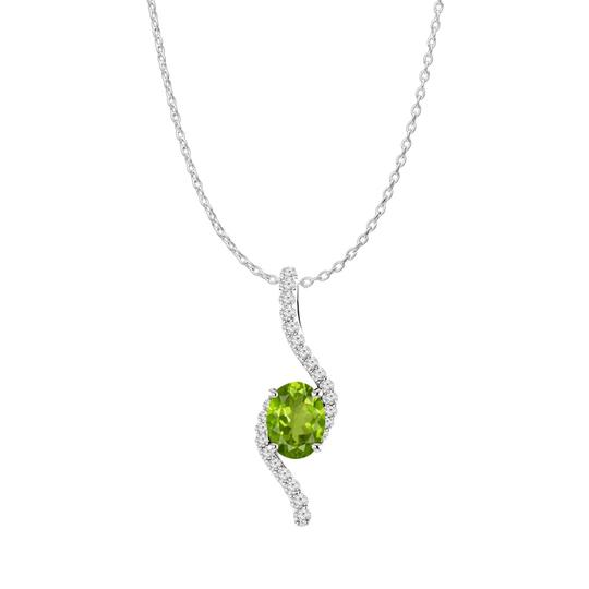 Preload https://img-static.tradesy.com/item/22556340/green-silver-oval-peridot-cz-accented-freeform-pendant-925-necklace-0-0-540-540.jpg