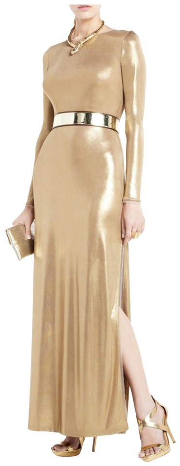 Bcbgmaxazria Metallic Slightly Sheer Bodycon Silhouette Liquid Jersey Mesh Tulle Trim Dress
