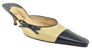 Chanel Logo Stiletto Beige Mules