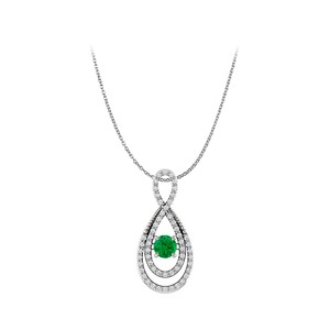 Marco B Emerald and CZ Infinity Style Pendant in 925 Silver