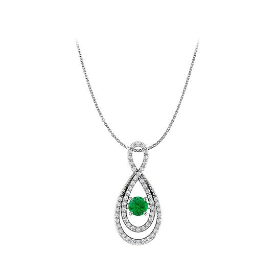Preload https://img-static.tradesy.com/item/22556463/green-silver-emerald-and-cz-infinity-style-pendant-in-925-necklace-0-0-540-540.jpg