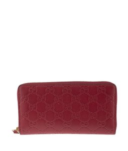 Gucci Gucci Red Guccissima Leather Zippered Wallet (140315)