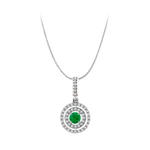 Marco B Emerald and Cubic Zirconia 925 Sterling Silver Pendant