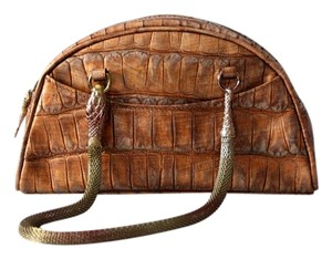 John Galliano Snake Metallic Satchel in Bronze