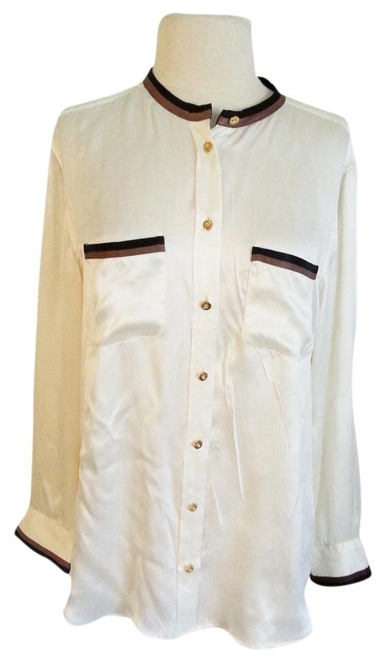 a3dba8a88fe319 Equipment White Brown Black Devon Collarless with Taping Long Sleeve Silk  Blouse Button-down Top