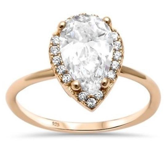 9.2.5 Gorgeous 925 rose gold white sapphire halo ring size 8