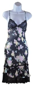 Roberto Cavalli Black Silk Floral Multi-color Spagetti Strap Slip Size 42 Dress