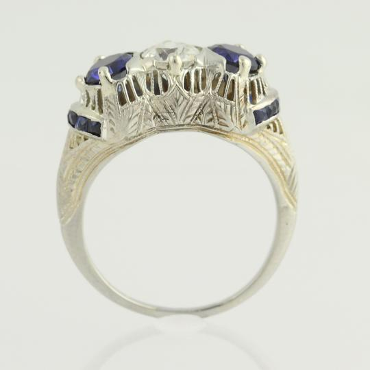 Wilson Brothers Art Deco Diamond & Synthetic Sapphire Ring - 18k White Gold Vintage 2.