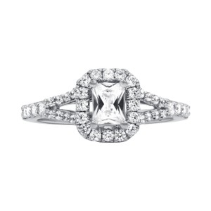 White Delicate Halo Diamond Engagement Ring