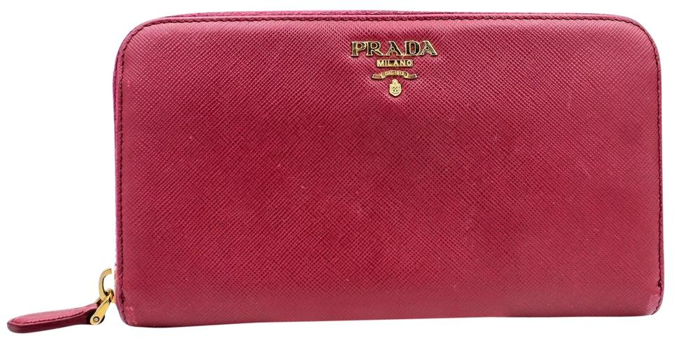 dfd9d14750fce0 Prada Peonia Pink Saffiano Zip-around Leather Wallet - Tradesy