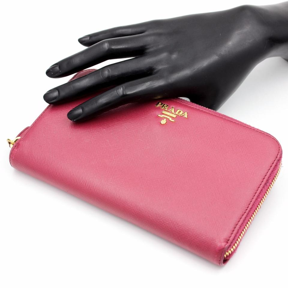 df42bf391c72e7 Prada PRADA Saffiano Zip-Around Peonia Pink Leather Wallet Image 11.  123456789101112