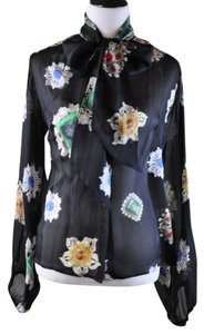 Roberto Cavalli Silk Long Sleeve Jewel Print Top Black Multi -Color