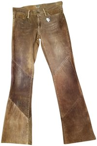 Goldsign Leather Straight Pants Tan brown