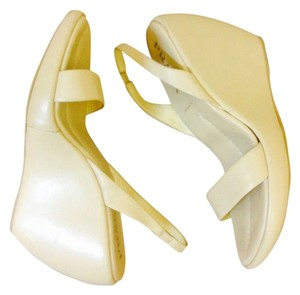 Prada Leather Wedge Sandal cream Wedges