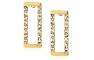 Rebecca Minkoff Gold & Pave Geo Rectangle Stud Earrings
