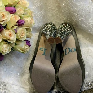 Steve Madden Grey Betsi Satin Rhinestone Heels with I Do Platforms Size US 6 Regular (M, B)