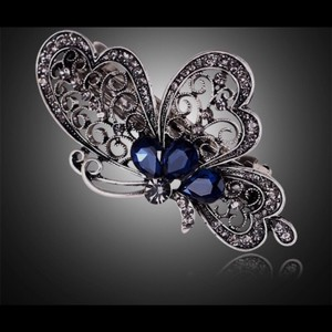 Queenesthershop 2-Pcs Little Girls/Women Butterfly Beautiful Blue Stone Barette (Small)