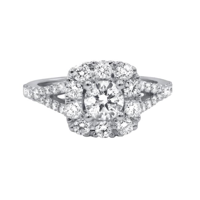 Diana M White Square Halo with Round Diamond In The Center Engagement Ring Diana M White Square Halo with Round Diamond In The Center Engagement Ring Image 1