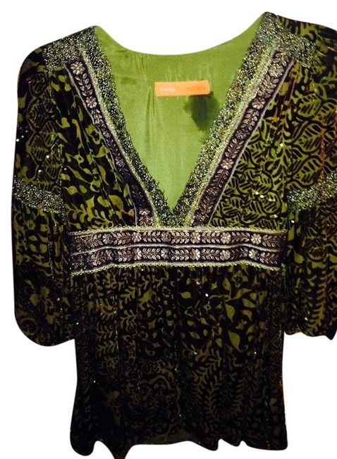 Cynthia Steffe Velvet Burnout Lace Sequins Details Galore Top Brown, Gold and Green/Multi
