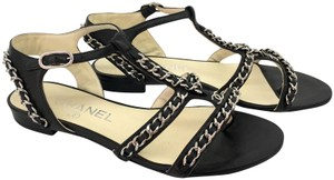Chanel Strap Strappy black Sandals