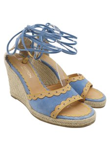 Louis Vuitton Suede Espadrille Leather Ankle Wrap Blue And Beige Sandals