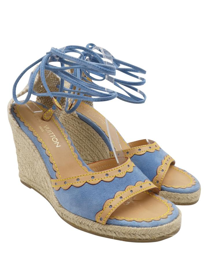 f69747a04f76 Louis Vuitton Blue and Beige Sky Suede Canvas Leather Espadrille 39 8 Wedges  Sandals