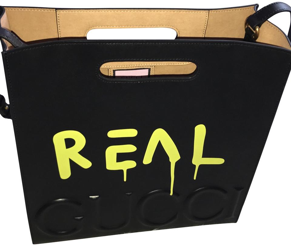 2ef5abe389d001 Gucci Ghost Medium Black & Yellow Leather Tote - Tradesy
