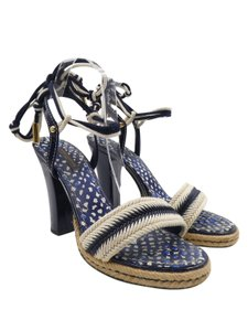 Louis Vuitton Cord Patent Leather Espadrille Ankle Wrap Open Toe Blue And Beige Sandals