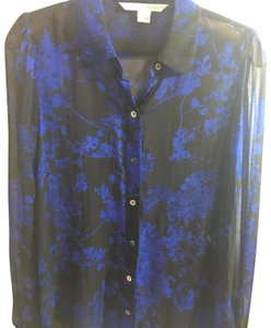 Diane von Furstenberg Button Down Shirt black and blue