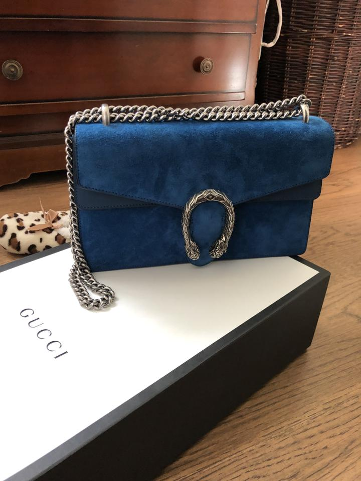 767eb9e22 Gucci Dionysus Small Blue Suede with Leather Shoulder Bag - Tradesy